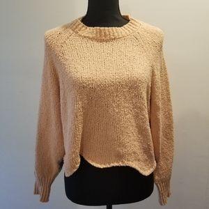 Blush pink Zara cropped knit sweater